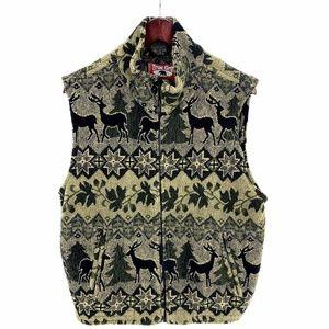 True Grit Womens S Fleece Vest Jacket Forest Deer
